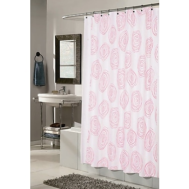Carnation Home Fashions Lucerne Shower Curtain; White and Fuchsia