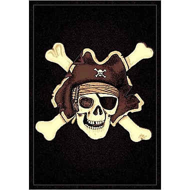 DonnieAnn Company Skinz 77 Mixed Black Skull Pirate Area Rug; 7' x 5'