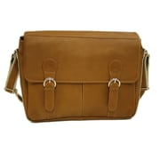 Piel Entrepreneur Messenger Bag; Saddle