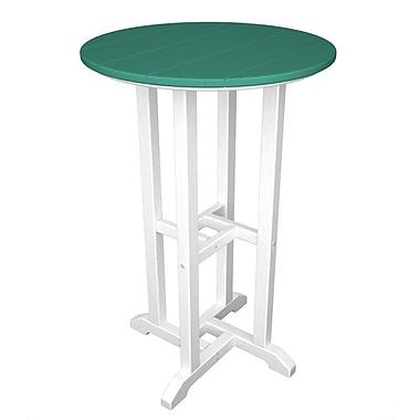 POLYWOOD Contempo Bar Table; White & Aruba