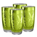 Artland Brocade Highball Glass in Lemon Grass (Set of 4)