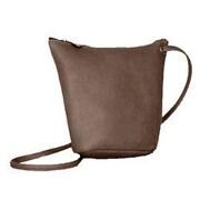 David King U-Shaped Top Zip Mini Shoulder Bag; Caf  / Dark Brown