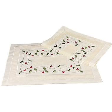 Xia Home Fashions Classic Holly Embroidered Cutwork Holiday Placemat (Set of 4)