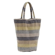 Couleur Nature Laundered Stripe Shopping Tote; Lime Green