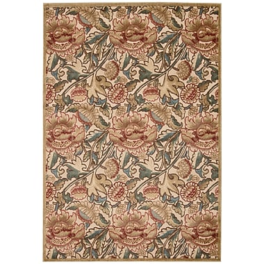 Nourison Graphic Illusions Light Gold Floral Area Rug; 5'3'' x 7'5''