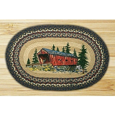 EarthRugs Covered Bridge Printed Area Rug; Oval 1'8'' x 2'6''