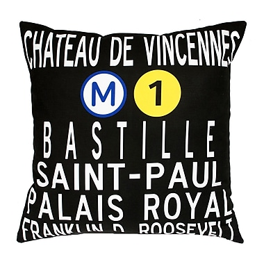 Uptown Artworks Paris Metro Throw Pillow