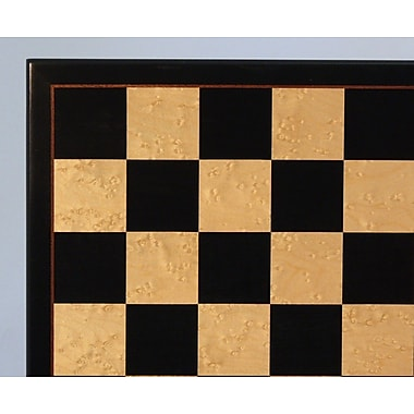 WorldWise Chess 17'' Black and Birdseye Maple Veneer Chess Board