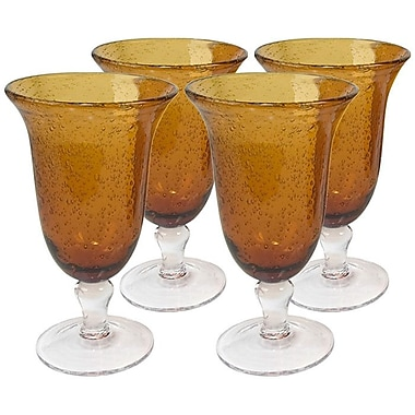 Artland Iris Footed Iced Tea Glass in Amber (Set of 4)