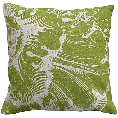 123 Creations Graphic Rossette Screen Print Linen Throw Pillow; Green