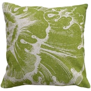 123 Creations Rossette 100pct Linen Screen Print Pillow; Green