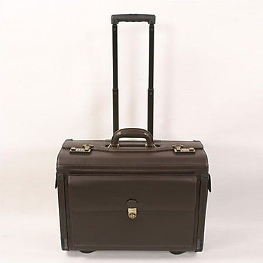 Winn International Cowhide Leather Laptop Pilot Case; Black