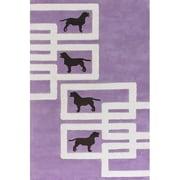 Chandra Avalisa Dog Purple/White Novelty Rug; Round 7'9''