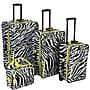 Rockland 4 Piece Luggage Set; Lime Zebra