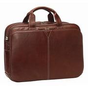 Johnston & Murphy Double Laptop Briefcase; Mahogany Tumbled