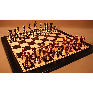 WorldWise Chess Inlaid Russian on Ebony Chess Board