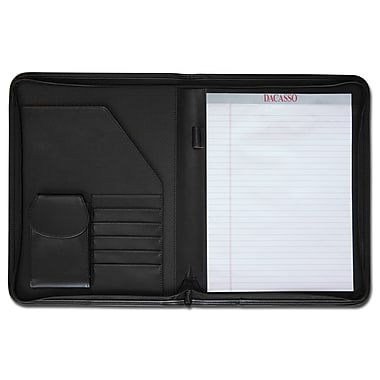 Dacasso Leather Portfolios Top-Grain Deluxe Zip-Around Padfolio in Black