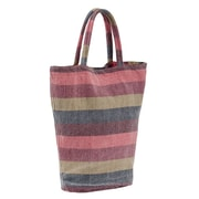 Couleur Nature Laundered Stripe Shopping Tote; Salmon
