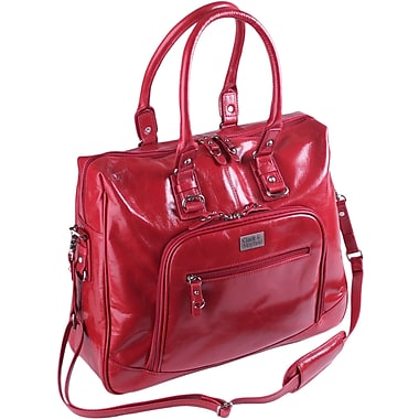 Clark & Mayfield Irvington Bowler Vintage Laptop Zipper Tote Bag; Red