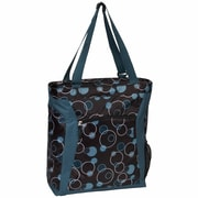 Everest Pattern Shopper Tote Bag; Teal Bubbles/Brown