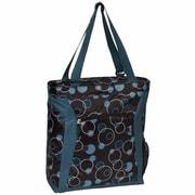 Everest Pattern Shopper Tote Bag; Teal Bubbles/Brown