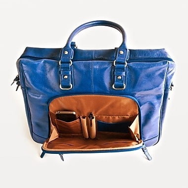 Clark & Mayfield Irvington Bowler Vintage Laptop Zipper Tote Bag; Cobalt Blue