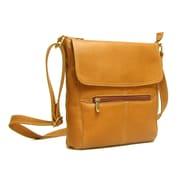 Le Donne Leather Front Flap Cross Body Bag; Tan