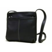 Le Donne Leather Exterior Zip Pocket Women's Shoulder Bag; Black