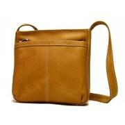 Le Donne Leather Exterior Zip Pocket Women's Shoulder Bag; Tan
