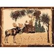 DonnieAnn Company Lodge Design Moose and House Novelty Rug; 7.17' H x 5.17' W x 0.25' D
