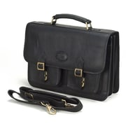Claire Chase Business Leather Laptop Briefcase; Black
