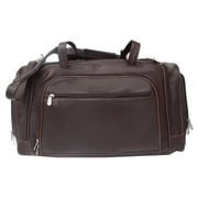 Piel 20'' Leather Multi-Compartment Carry-On Duffel; Chocolate