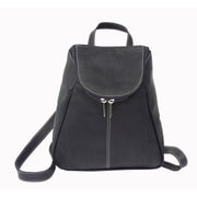 Piel U-Zip Flap Backpack; Black