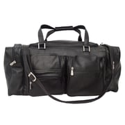 Piel Traveler 24'' Leather Travel Duffel with Pockets; Black