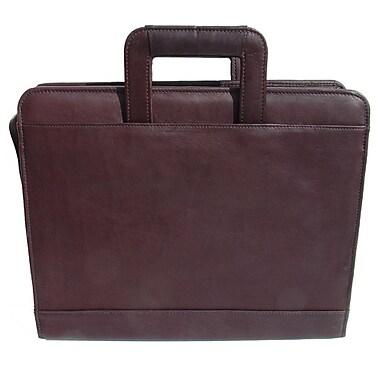 Piel Three-Ring Binder Briefcase; Chocolate
