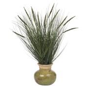 Nearly Natural Silk Grass in Round Decorative Vase