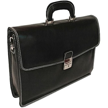 Alberto Bellucci Verona Vernio Leather Laptop Briefcase; Black
