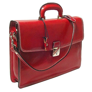 Alberto Bellucci Verona Vernio Leather Laptop Briefcase; Red