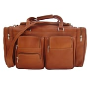 Piel 20'' Leather Carry-On Duffel with Pockets; Saddle