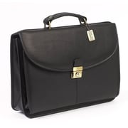 Claire Chase Lawyer's Leather Laptop Briefcase; Black