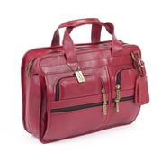 Claire Chase Slimline Executive Leather Laptop Briefcase; Red