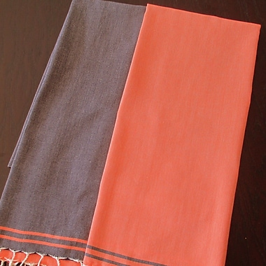 Scents and Feel Split Fouta Towel; Navy / Orange