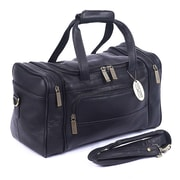 Claire Chase Petite Sport 14'' Leather Travel Duffel; Black