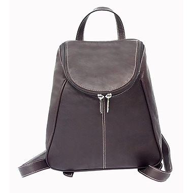 Piel U-Zip Flap Backpack; Chocolate