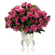 Nearly Natural Azalea Desk Top Plant in Decorative Vase