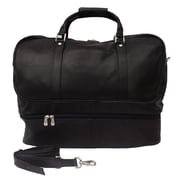 Piel Traveler 20'' Leather False Bottom Travel Duffel; Black