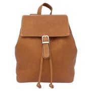 Piel Top Flap Drawstring Backpack; Saddle