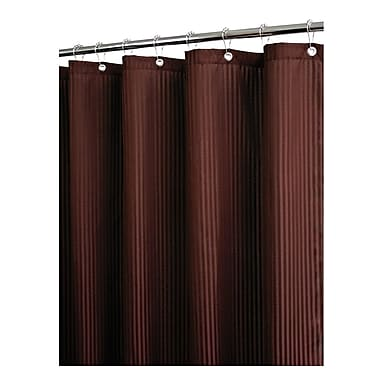 Watershed Solid Satin Stripe Shower Curtain; Coffeebean