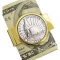 American Coin Treasure Liberty Commemorative Half Dollar Coin Goldtone Money Clip
