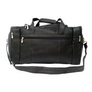 Piel Traveler 19'' Leather Weekender Duffel with Side Pockets; Black